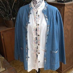 NWOT Tudor Court embroidered Jean jacket